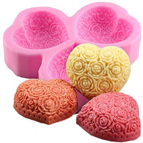 moldfun 3-cavity Herzform Rose Flower Silikon Form für Seife, Lotion Bar, Bath Bomb, Kerze - Flower Soap Bar Seife