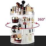 LIVEHITOP Organisateur de Maquillage 360 Degré Rotation, Acrylique Cosmétique Rangements avec Sac pour Coiffeuse, Salle de Bains Accessoires, Cadeaux pour les Filles Femmes