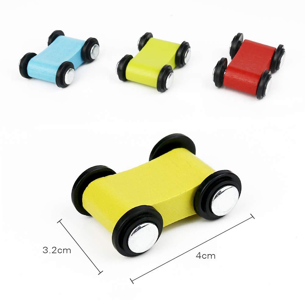 yoptote Pista in Legno per Macchinine Gioco Click Clack con 4 Auto da Corsa  4 Rampa Giocattolo Bambini Small Foot Include Area Parcheggio 3,4,5,6 Anni