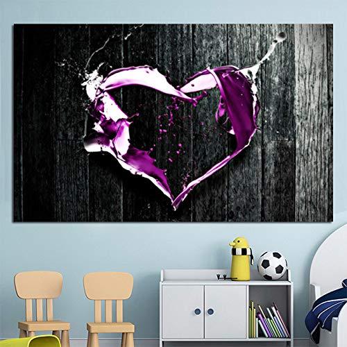 RTCKF Astratto Viola Amore Artista Tela Pittura Moderna Arte della Parete Creativo Poster Decorazione della Parete di casa (Senza Cornice) A2 30x40cm