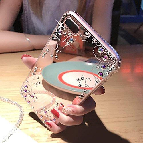 JAWSEU Coque Etui pour iPhone 7,iPhone 8 Silicone Coque Bling Glitter Housse avec Pailletee,Ultra Mince Souple Flexible en Silicone Transparent Housse Etui de Protection iPhone 7 Or Coque Slim Tpu Sof Rose or&Miroir fleur