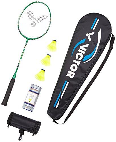 Victor Badminton Set, 1x VICTEC Rap Badmintonschläger/Racketbag / 3X Nylonball, Grün/Schwa Preisvergleich