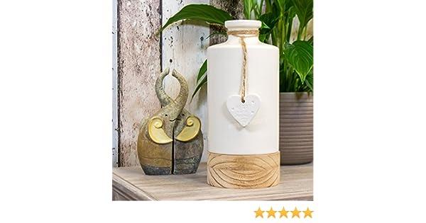 Shabby Chic 25cm White Ceramic Wooden Flower Vase Heart Decorative Jug Ornament