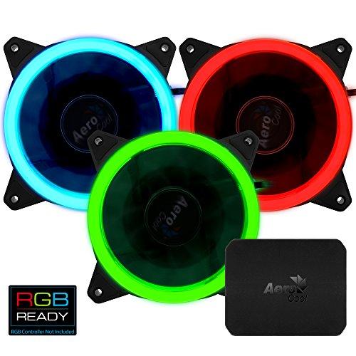 Aerocool REVRGBPRO PC Lüfter mit RGB Licht, 3er Pack Schwarz -