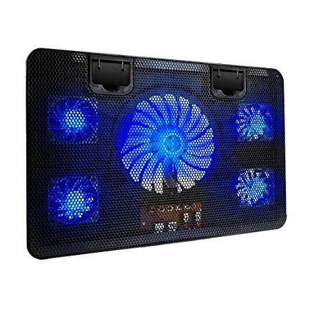 Laptop Kühler Für 14-17 Zoll Notebook,Notebook Cooler Ständer mit 5 Ruhige LED Lüfter