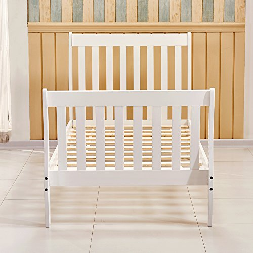 Tason Modern Design Wooden Bed Frame, Solid Pine Wood Sleigh Single Bedstead for Bedroom, Kids Furniture or Guest Room (3FT Sleigh, White)