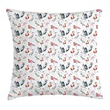 VICKKY Flamingo Throw Pillow Cushion Cover, Heron And Flamingo Birds with Artistic Watercolor Design Wildlife Nature, Decorative Square Accent Pillow Case, 18 X 18 Inches, Grey Vermilion White