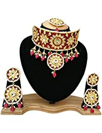Finekraft Meena Kundan Bridal Wedding Designer Gold Plated Choker Necklace Set For Women