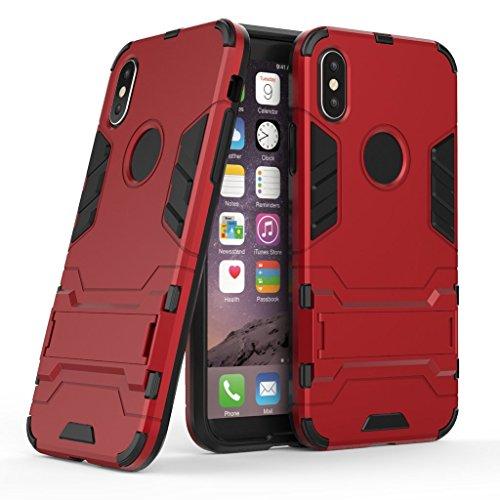 "Coque pour Apple iPhone X , IJIA Rouge 2 en 1 Hybride Armour Case TPU + PC Back Cover Rigide with kickstand Coque de Protection de plein air pour Apple iPhone X (5.8"") Smartphone Red"