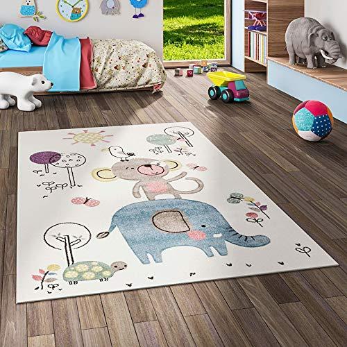 Maui Kinder Teppich Kids Lustige Tiere Creme Bunt in 3 Größen