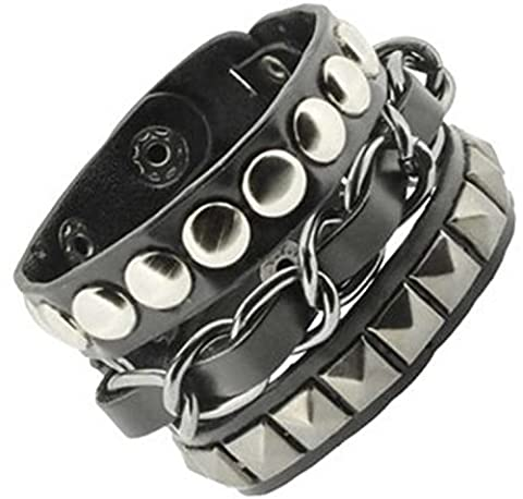Y-BLUE Fashion Style Punk Wide Cuff Women's Bracelets Boyfriend Gift Made of Genuine leather and (Mens Sterling Silver Eagle)