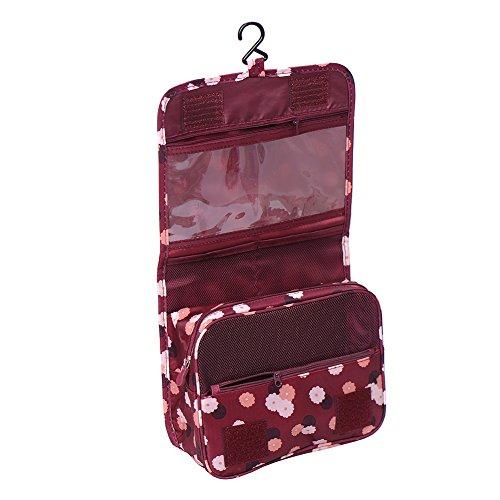 hjuns d'pliable Voyage Maquillage Cosmétique Trousse de Toilette avec crochet Organisateur Sacs Sacs Rouge bordeaux/blanc