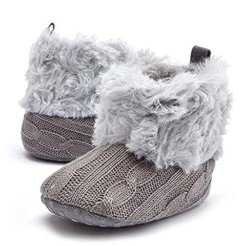 hibote Infant Chaussures Bébé Crochet Knit Fleece Bottes Enfant Fille Garçon Laine Neige Crib Hiver Chaussons