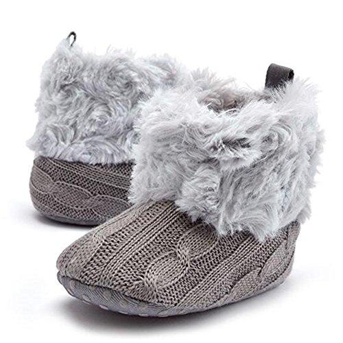 Wolle Hibote Grau Säuglingsbabyschuh Jungen Fleece Booties Winter Schneekrippe Mädchen Kleinkind Häkelarbeitknit Stiefel gxg7BHqrw0