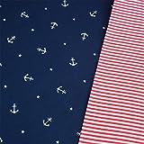 0,5m Jersey Anker & Sterne dunkelblau & 0,5m Ringel-Bündchen rot-weiß Breite 70cm (Schlauchware 2x35cm) Muster-Mix 95% Baumwolle 5% Elastan