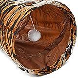 Pawz Road Katzentunnel Katzenspielzeug Rascheltunnel Spieltunnel 130cm mit 2 Höhlen in Tiger-Streifen Design - 4