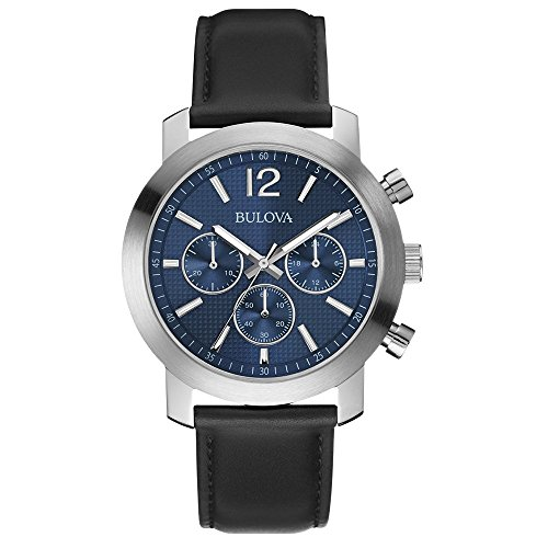 Bulova Classic Dress Men's Quartz Watch with Blue Dial Analogue Display and Black Leather Strap 96A160