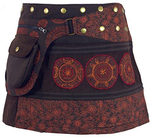 GURU-SHOP, Falda de la Envoltura de la Cuerda, Mini Falda, Falda Corta de Goa, Cacheur Largo, Café, Algodón, Tamaño:One Size, Faldas Cortas