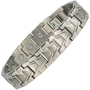 MPS® ARROWS Tiatnium Magnetic Bracelet Fold-Over Clasp, 3,000 gauss Magnets + Free Gift Wallet, Size XXL, MORE LENGTHS AVAILABLE
