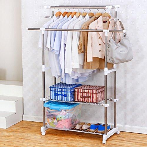 Wäscheständer, Doppel-Wäscheständer, Kleiderständer aus Edelstahl, Mehrzweck-Racks