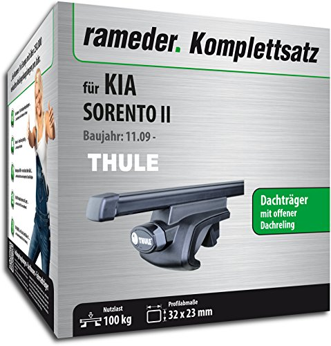 Rameder Komplettsatz, Dachträger SquareBar für Kia SORENTO II (116010-08258-37)