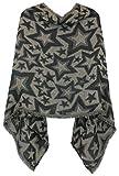 Poncho Damen Strickponcho Umhang mit Stern Muster - Vorne kurz seitlich lang Schnitt - PON004 (BeigeSchwarz)