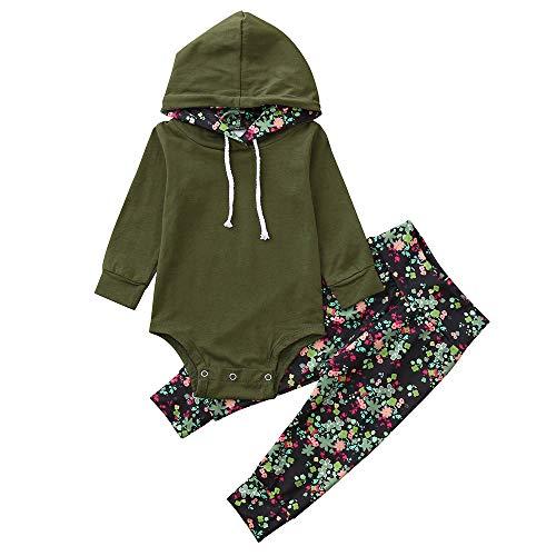 sunnymi 2pcs Baby Mädchen Tops + Hosen Kleidung Set Herbst Langarm Für 0-24 Monate (12 Monate, Armee-Grün)