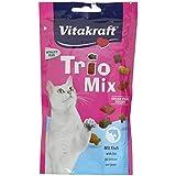 Vitakraft Katzensnacks, Fischform, Blumenform, Knusperkissen mit Fisch, Trio Mix, 28817, 60 g