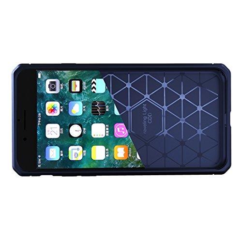 Phone case & Hülle Für iPhone 6 / 6s, gebürsteter Carbon-Faser-Beschaffenheit Shockproof TPU schützender Abdeckungs-Fall ( Color : Black ) Dark blue