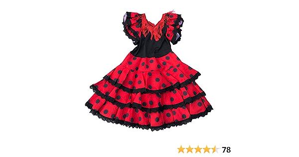 Rouge Noir La Senorita Robe Espagnol Flamenco//Costume Ni/ño pour Filles//Enfants