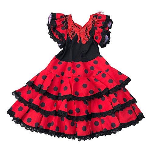 La Senorita Ropa Flamenco Niño Lujo Español Traje de Flamenca chica/niños (Talla 2, 80-86 - 60 cm, 2/3 años)