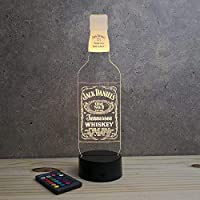 Lampe Illusion Whisky personnalisable 16 couleurs RGB & télécommande - Fabriquée en France - Lampe de table - Lampe veilleuse - Lampe d'ambiance