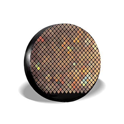 ErwangGo Tire Cover Wheel Covers,Vibrant Mosaic of Diagonal Squares with A Black Finish Celebration Event Theme,for SUV Truck Camper Travel Trailer Accessories(14,15,16,17 Inch) 14 Diagonale Finish