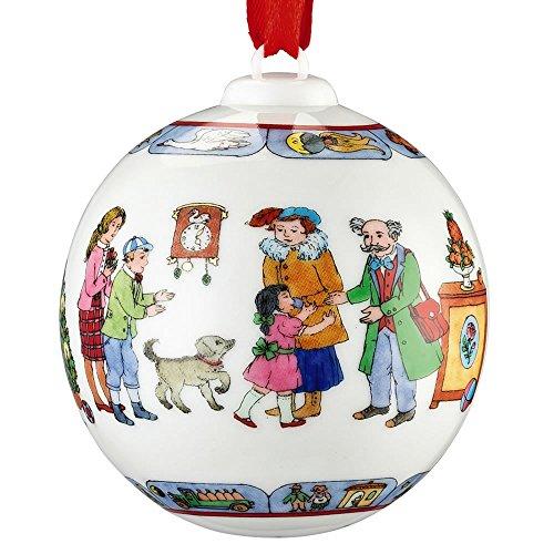 """Hutschenreuther 02252-722980-27940 Porzellankugel 2016 """"Weihnachtsessen"""" Durchmesser 6 cm Porzellan, bunt, 7,5 x 7,5 x 10,5 cm"""