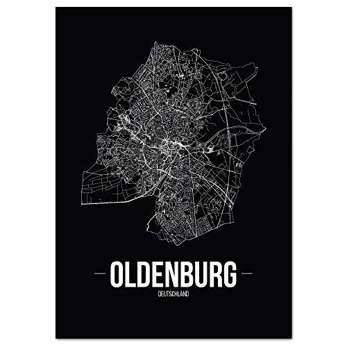 JUNIWORDS Stadtposter - Wähle Deine Stadt - Oldenburg - 40 x 60 cm - Schrift B - Schwarz
