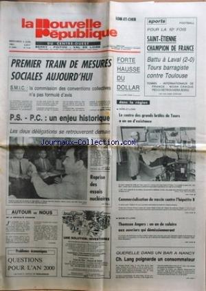 NOUVELLE REPUBLIQUE (LA) [No 11146] du 03/06/1981 - CONFLITS SOCIAUX -dans un bar a nancy / ch. lang poignarde un consommateur -thomson angers et les salaires aux ouvriers qui demissionneront -reprise des essais nucleaires -les sports - noah / pecci et borg par Collectif
