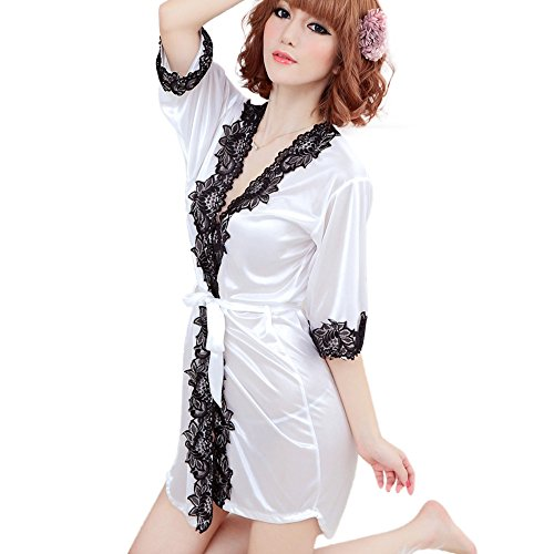e4b06cd375 MORCHAN❤️Femmes Kimono en Dentelle de Soie Sexy Robe de Chambre Robe de  Chambre Lingerie