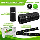 Zizz Fit Ultimate Fitness Massage Therapy Set – 1x Foam Roller for Muscle Pain Relief 2x Massage Balls for Massaging Trigger Points and 1x Resistance Band for Stretching & Injury Recovery