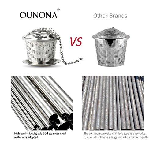 OUNONA Tee-ei Sieb Tee Rostfreier Stahl (2 Stück) mit Tee-Scoop und Auffangwannen - 6