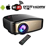 Proiettore WiFi wireless per iPhone Android, Mini proiettore WiFi Full HD BACAKSY Supporta proiettore video Home Cinema 1080P LCD con WiFi / HDMI / VGA / AV / USB per TV PC Laptop iPhone Android Movie