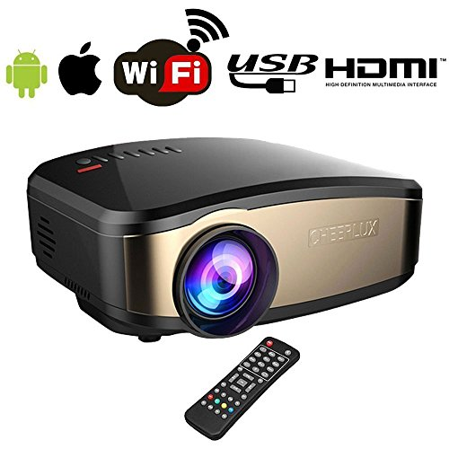 Beamer, BACAKSY Wifi Full HD Mini Beamer unterstützt 1080P LCD Heimkino Video Projektor für Wifi/HDMI/VGA/AV/USB für TV PC Laptop iPhone Android Filme und Video Spiele