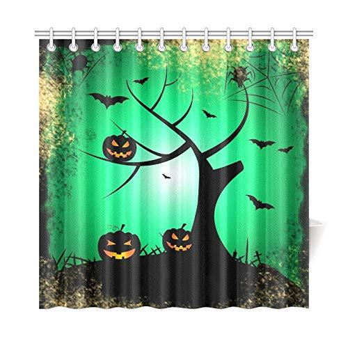 JOCHUAN Wohnkultur Bad Vorhang Halloween Baum Anzeige Trick Treat Kürbis Polyester Stoff Wasserdicht Duschvorhang Für Badezimmer, 72 X 72 Zoll Duschvorhänge Haken Enthalten