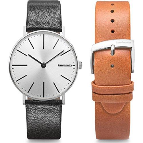 Lambretta Cesare plata negro reloj | plata negro marrón piel reloj banda Duo Kit