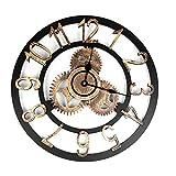 Reloj de Pared Retro en 3D Estilo Industrial Reloj Vintage Steampunk Gear Wall Decoración del hogar 40CM Dolado
