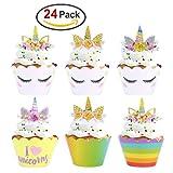 Konsait Unicornio Cupcake Topper de Tarta Magdalenas Decoración Cuerno y Orejas Doble Cara envolturas para Niños niñas Regalo Unicornio Decoraciones de Fiesta de cumpleaños (24Pack)