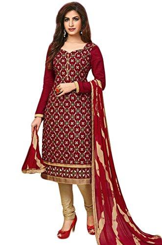 Salwar Suits For Women (Manmandir\'s Cotton Embroidered Dress Material)