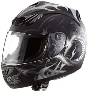 Protectwear H510-11SW-M Motorradhelm, Integralhelm mit Drachendesign, Größe M, Schwarz/Silber