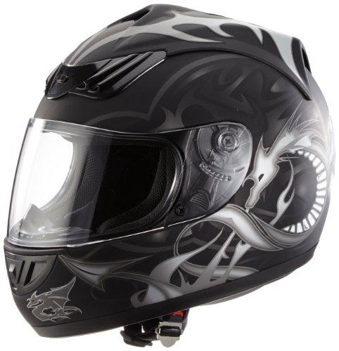 Protectwear Casco moto opaca drago nero disegno H-510-11-SW, Taglia M
