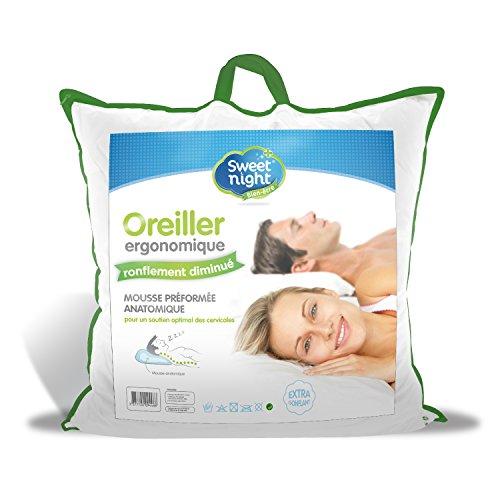 Sweetnight - Oreiller Anti Ronflement | 60x60 cm | Soutien des cervicales | Ergonomique | Gonflant Doux et Confortable | 100% Microfibre