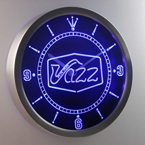 nc0321-b Jazz saxophone Bar Music Live Pub Club Neon Sign LED Wall Clock Uhr Leuchtuhr/ Leuchtende Wanduhr
